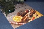 Weihnachtsbaum Unterlage Zimt&Orangen auf Holz 97cmx97cm