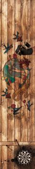Profi Dartmatte 283 cm x 60 cm (offizieller Abstand für Steel- und Softdart) mit dem Motiv Tattoo auf Holz