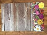 Tischset Holz mit bunten Blumen 4 Stück a 45x30cm