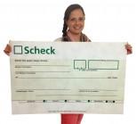 XXXL Spendenscheck: grün 90cmx52cm, rollbar