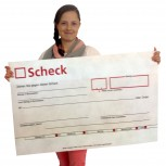 XXXL Spendenscheck: rot 90cmx52cm, rollbar